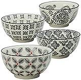 Signature Housewares Print 1 Bowls, 6-Inch, Black, Set of 4