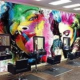 Papel tapiz 3D Mural Autoadhesivo Moda Maquillaje Personalidad Doodle Papel pintado PVC Juego Pelícu Pared Pintado Papel tapiz 3D Decoración dormitorio Fotomural sala sofá pared mural-200cm×140cm