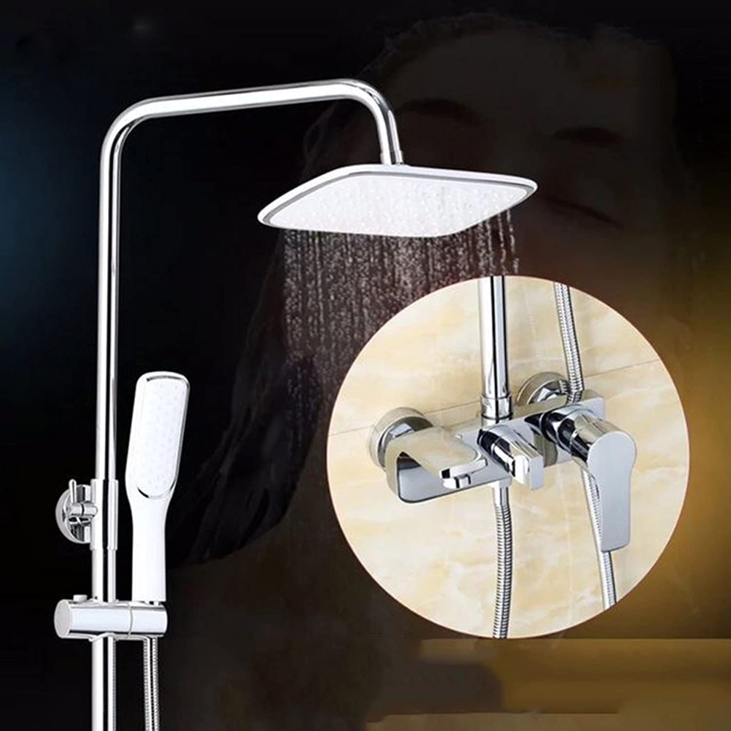 Duschsysteme-sam Li@ Hand Shower with Shower Set Copper Hot and Cold Water Heater Nozzle Wall-Mounted Shower Set, Can Lift Up and Down (Farbe   Silber)