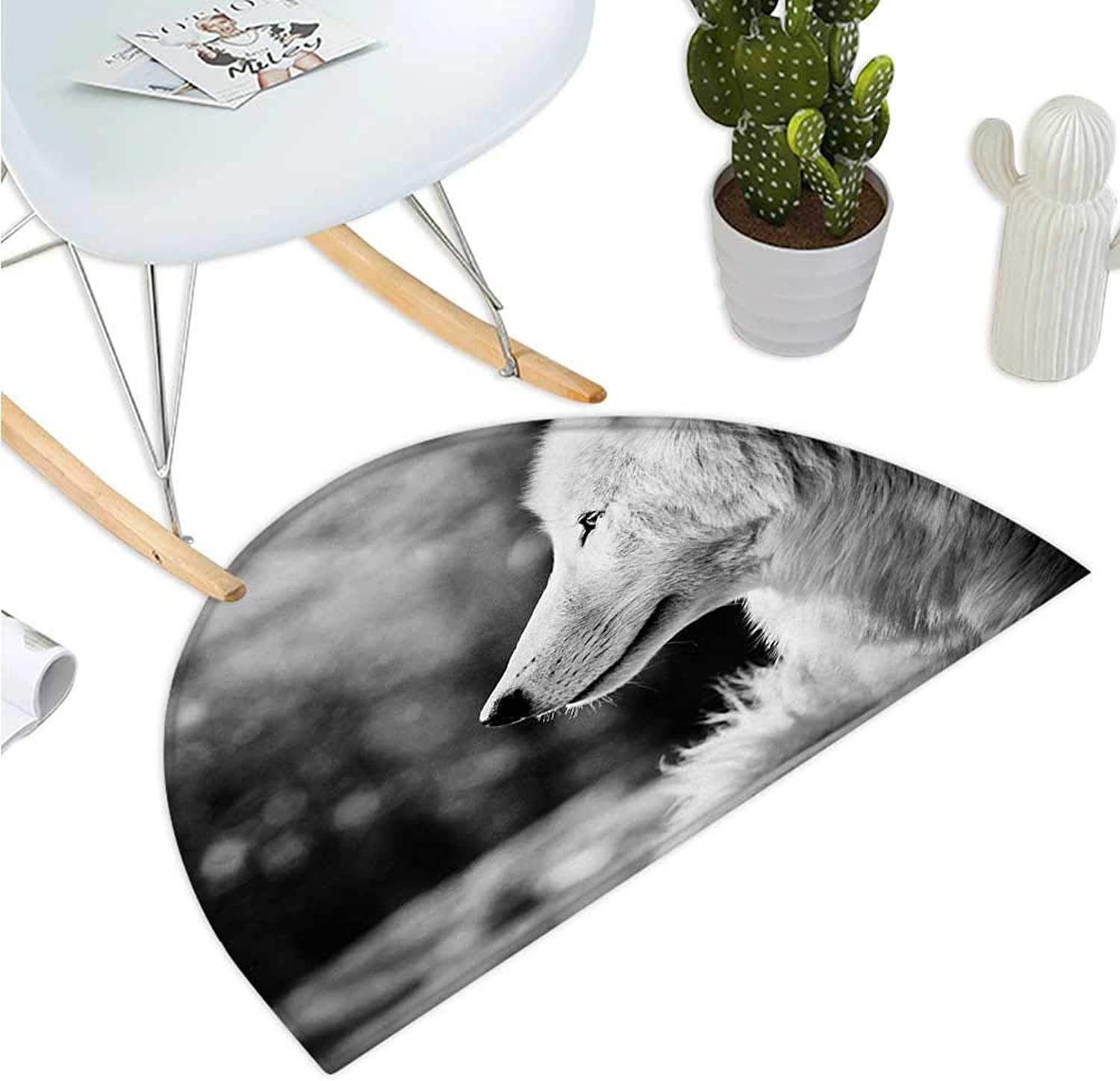 Wolf Semicircular Cushion Animal Profile Portrait in The Nature Wildlife Carnivore Greyscale Canine Photography Halfmoon doormats H 39.3  xD 59  Pale Grey