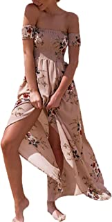 Sleeve Off Shoulder Floral Print Maxi Boho Summer Sundress Women's Short (Color : Khaki, Size : S)