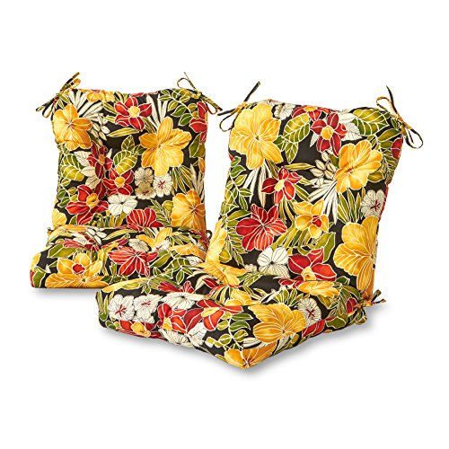 Greendale Home Fashions AZ6815S2-ALOHA-BLACK Aloha Outdoor Chair Cushion (Set of 2)