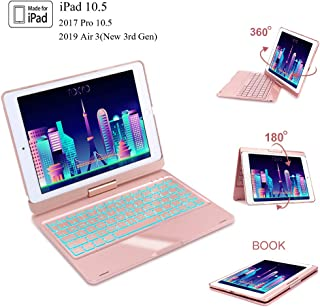iPad 10.5 Keyboard Case for iPad Pro 10.5 inch 2017, New iPad Air 3rd Gen 10.5 inch 2019,360° Rotatable, 7 Colors Backlit, Auto Sleep/Wake, iPad Keyboard with Case 10.5 Inch, Rose Gold