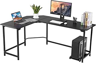 LANGRIA Modern L-Shaped Computer Desk with CPU Stand, Wood and Metal Large Corner Workstation Table with Thick and Sturdy Tabletop and Leveling Feet, Max Load 132 lbs, for Home and Office Use (Black)
