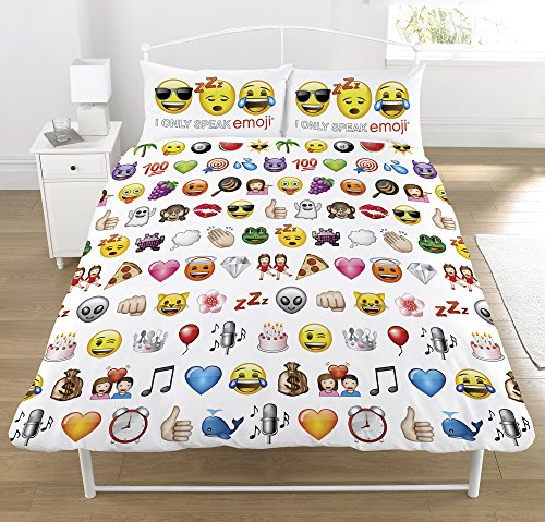Multi Emoji Conjunto de edredón doble, poliéster-algodón