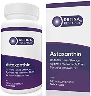 Retina Research Astaxanthin 10mg - Natural Astaxanthin Supplements to Support Eye Health - Up to 90 Times Stronger Than Sy...