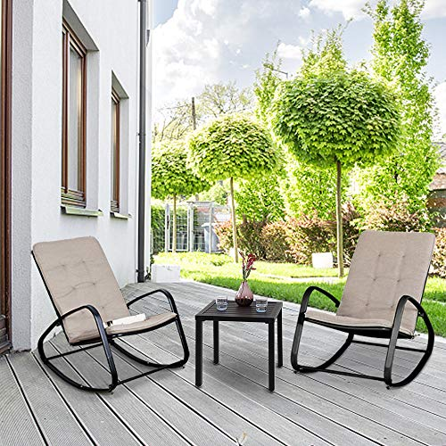 PHI VILLA 3 Piece Bistro Set Patio Rocking Chairs Outdoor Furniture Padded Warm Gray Cushions, Folding Metal Side Table for Garden, Pool, Backyard, Deck (Black)