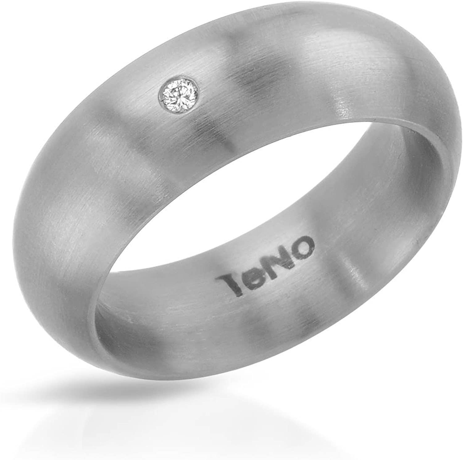 Teno Stainless Steel 0.02 CTW Color G, VS2 Diamond Band Ring.