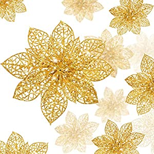WILLBOND 36 Pieces Christmas Glitter Poinsettia Flowers Artificial Flowers Wedding Glitter Christmas Tree New Year Ornaments (Gold, Hollow Style)