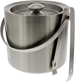 Stainless Steel Ice Bucket - Portable Double Wall Ice Bucket with Tong, Barware, Serveware for Party, Event, and Gathering 2.5 Liters 7.5 x 7.5 Inches