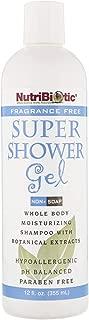Nutribiotic Super Shower Gel, Fragrance Free, 12 Fluid Ounce