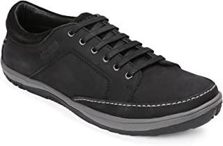 Red Chief Black Leather Men's Casual Shoes