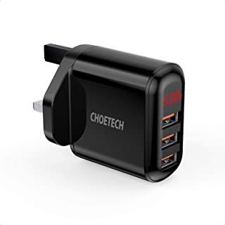 Choetech 3 USB A Wall Charger, Black