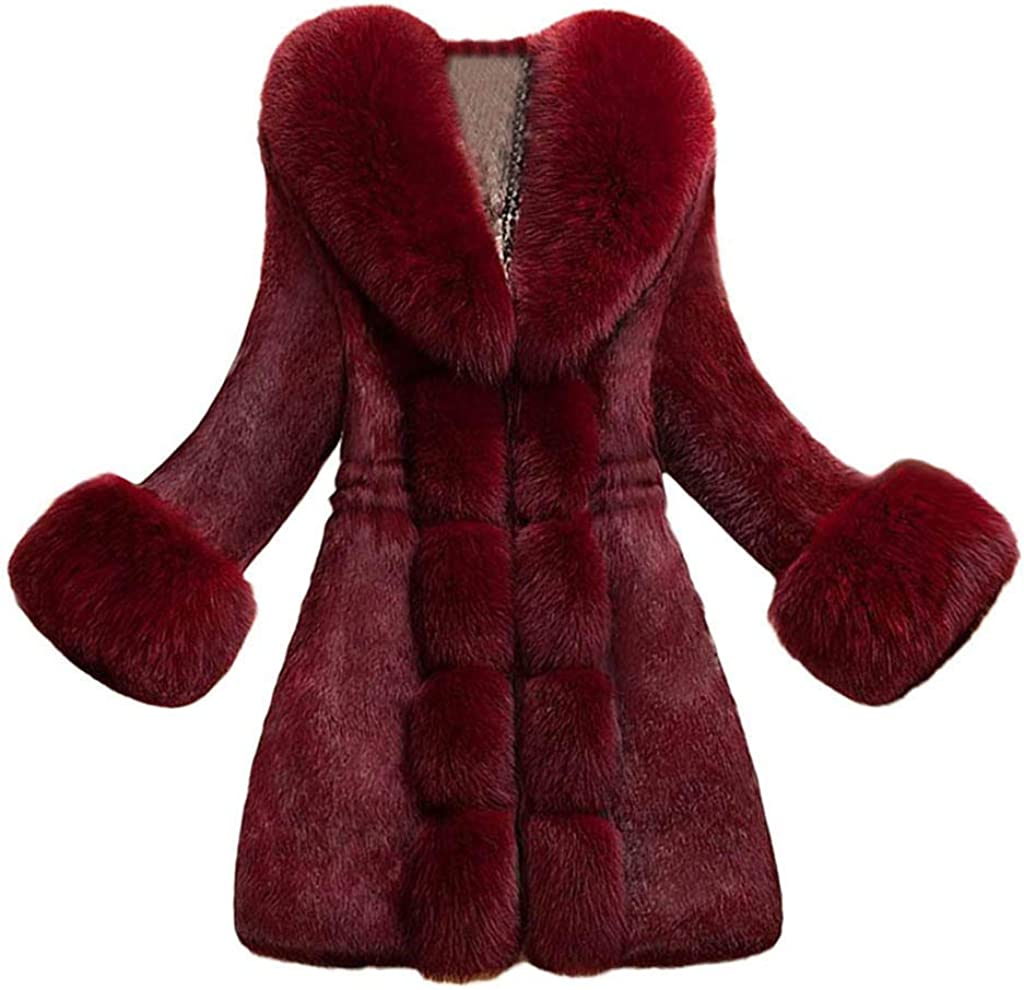 Forwelly Women Plus Size Overcoat Fashion Solid Long Sleeve Faux Fur Coat Thick Winter Cardigan Plush Overcoat