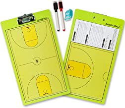 Shinestone Coaches Board, Coach Coaching Tactics Double Sided Premium Dry Erase Board Clipboard with Marker Pen, Eraser and Whistle, from Baseball, Basketball, Football, Soccer, Hockey to Volleyball