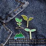 Hierba verde brote de frijol pico de montaña Pin de planta abrigo solapas accesorio mujeres insignia pines moda broche niño broches regalo