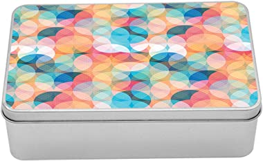 Ambesonne Geometric Metal Box, Soft Toned Hazy Overlap Circles Mosaic Birthday Party Pastel Design, Multi-Purpose Rectangular