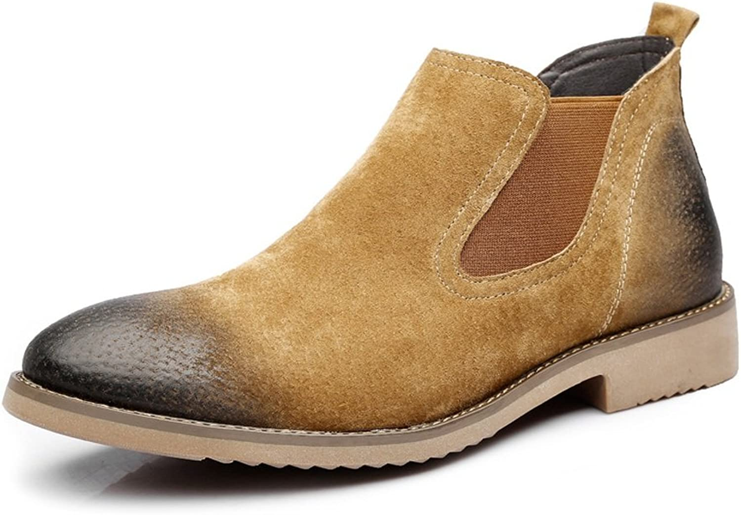 Men's Slip-on Ankle Boots Dual Flexible Plate Genuine Leather Outsole shoes