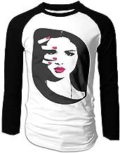Creamfly Mens Selena Pop Gomez Singer Long Sleeve Raglan Baseball Tshirt