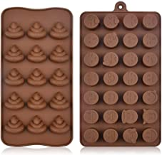 Emoji Chocolate Mold Funny Shaped Candy Making Molds Cute Silicone Baking Mould Ice Cube Tray Mini Pudding Gummy Maker (2 ...