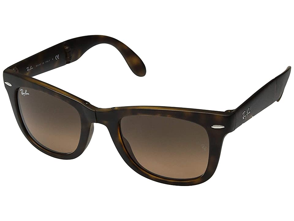 Ray-Ban RB4105 Wayfarer Folding 50mm (Matte Havana/Green Gradient) Plastic Frame Fashion Sunglasses