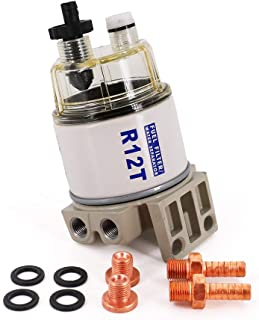 UTSAUTO R12T Fuel Filter Water Separator 120AT NPT ZG1/4-19 Complete Combo Filter fit Racor R12T 10 Micron Marine Diesel Engine 3/8 Inch NPT Outboard Motor Durable Spin-on Housing