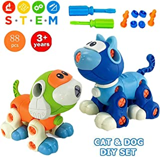Liberty Imports Take Apart Toys, Cat and Dog Models STEM Building Blocks - Kids DIY Creative Educational Construction Engineering Kit with Screwdriver (88 Pieces)