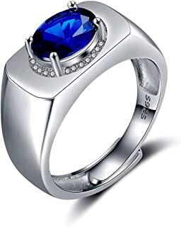 11aeb4af865c JiangXin Lujoso Plata de ley 925 Anillos ajustable Hombre Creado Zafiro  Azul compromiso Sólido San valentin