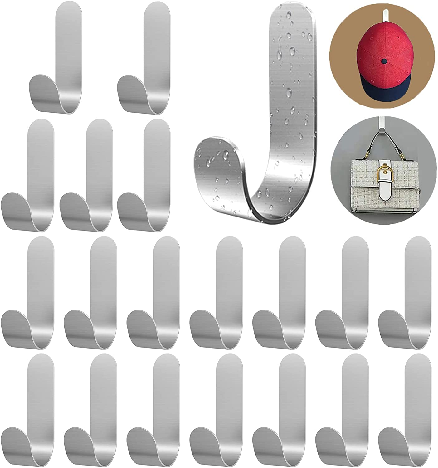 Small Adhesive Max 82% OFF Choice Hooks Hat for Wall Pack 20 Self Duty Heavy