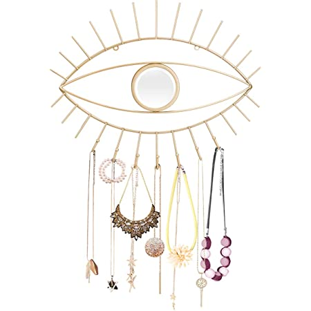 Modern Decorative Necklace Hanger Kimisty Boho Wall Hanging Eye Shaped Gold Mirror with Jewelry Holder Third Eye Makeup Mirror and Boho Jewelry Organizer Decor