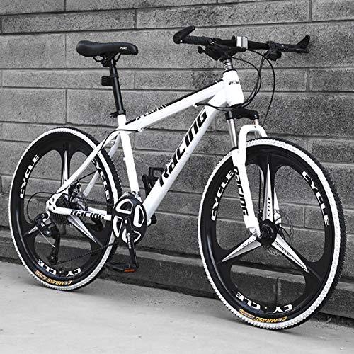 26 Inch Mountain Bikes, Men's Dual Disc Brake Hardtail Mountain Bike, Bicycle Adjustable Seat, High-Carbon Steel Frame,21/24 /27 Speed,Black 3/6/9 Spoke,E1,21