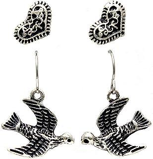 Antiqued Silver Swallow & Heart Earring Set