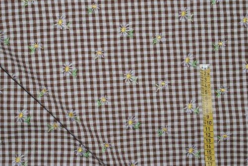 alles-meine.de GmbH 1 m * 1,45 m Stoff Margerite 100 % Baumwolle Trachtenstoff Blume Blüte braun Karo kariert Bestickt