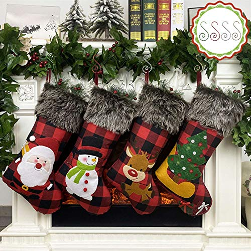 Christmas Stockings,4 Pack 18 inches Large Personalized Burlap Plaid Style with Santa/Tree/Snowman/Reindeer Plush Faux Fur Cuff Stockings, for Family Holiday Xmas Party Decorations(Include 4pcs hooks)