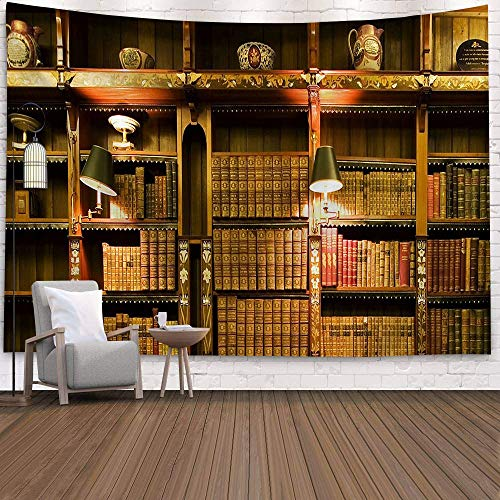 KHKJ Tapices de Tela de Pared Falsa de Pared de Libro Antiguo Decoración Moderna para el hogar Biblioteca Fondo de Madera de ladrillo Tapiz Manta Colgante de Pared A22 150x130cm