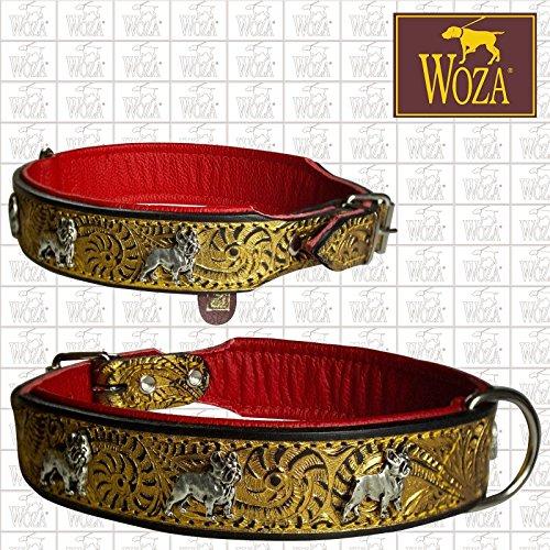 Woza HUNDEHALSBAND FRANZÖSISCHE Bulldogge Gold PRÄGUNG 3,3/47CM DREI FARBIG Vollleder Rindleder Nappa Collar