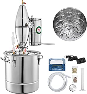 VEVOR 30L 7.9Gal Water Alcohol Distiller 304 Stainless Steel Moonshine Still Wine Making Boiler Home Kit with Thermometer for Whiskey Brandy Essential, Sliver