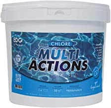 Chlore Multi Actions Piscine - Galets 250g - Seau 5 kg - Chlore Piscine Galets Multi Fonctions Longue Durée - EDG