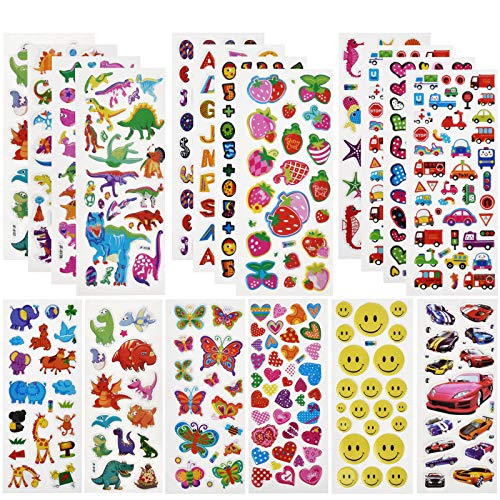 Willingood 3D Puffy Stickers for children [25 Different Sheet,600+], Include Dinosaur Stickers, Cars Sticker and so on, Party bag fillers for kids, Party Favours