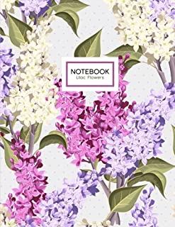 Lilac Flowers Notebook: Purple Floral Notebook (Composition Book, Journal) (8.5 x 11 Large)