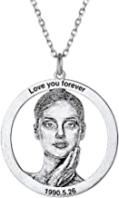 Women Men Personalized 925 Sterling Silver Photo Custom Necklace Free Text Engrave Round/Dog Tag Shape Pet Memorial/Your Photo Picture Customize Personalized Necklaces