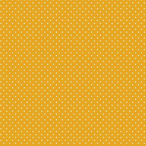 babrause® Baumwollstoff Pünktchen Gelb Webware Meterware Popeline OEKOTEX 150cm breit - Ab 0,5 Meter