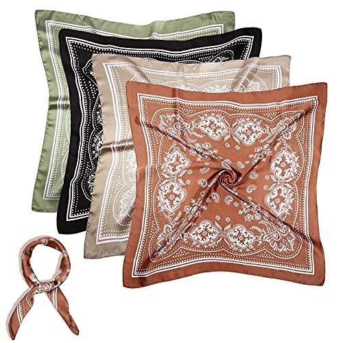WUZJ 4 unids Seda sentimiento Cabeza Bufanda, Bufanda de Pelo Satinado Cuadrado para Mujeres, Bufandas de Pelo de Cuello envolventes de pañuelo de Cabeza de pañuelo de pañuelos Noche de Regalo,A