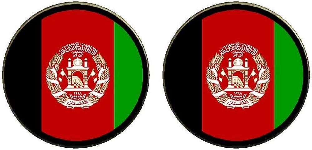 GiftJewelryShop Bronze Retro Style Afghanistan flag Photo Clip On Earrings 14mm Diameter