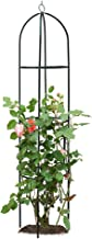 Garden Obelisk Trellis for Climbing Plants, Wrought Iron Metal Trellis Flower Support for Climbing Vines, Rose and Plants, Outdoor Green Steel Tall Tower w/ 6.2ft Height