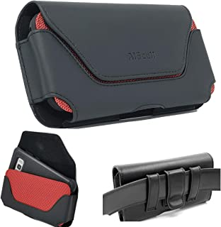 AISCELL Red Black Oversize Leather Pouch Holster Belt Loop Case Universal Faux Leather Horizontal Cellphone Belt Clip Hip Holster for Smartphones 7.00X3.60X0.60 Inches Fits Phone with Thick Cover