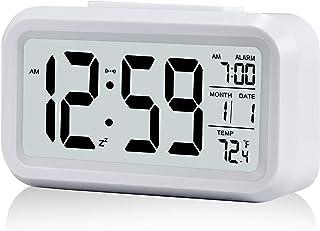 Väckarklocka, liten digital väckarklocka, 5,1 tums LCD-skärm med minuters snooze-, datumkalender temperaturlarm sängbord e...