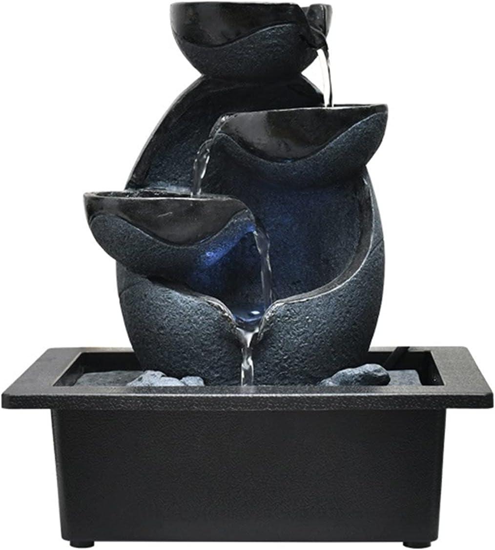 hongbanlemp Fuente de Agua de la Mesa - Fuente Interior con DIRIGIÓ Luces - Diseño Decorativo de Roca escalonada y Cascada - Sonido de Agua Tranquila y calmante (Color : 2)