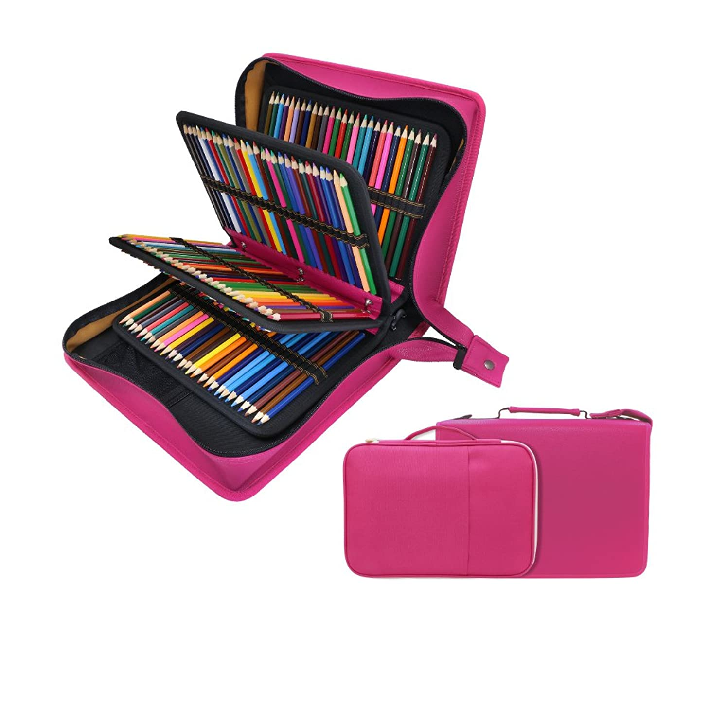 200 + 16 Slots Pencil Case & Extra Pencil Sleeve Holder - Bundle for Prismacolor Watercolor Pencils, Crayola Colored Pencils, Marco Pens and Cosmetic Brush by YOUSHARES (216 Slots Red) Pink