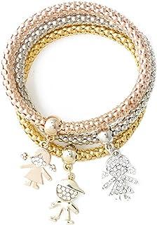 Befaith 3pcs / set / Argento Bracciale catena braccialetto delle donne oro / Rosa ha placcato titanio acciaio bambini NO.1...